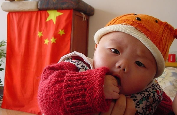 China, baby, Chinese flag