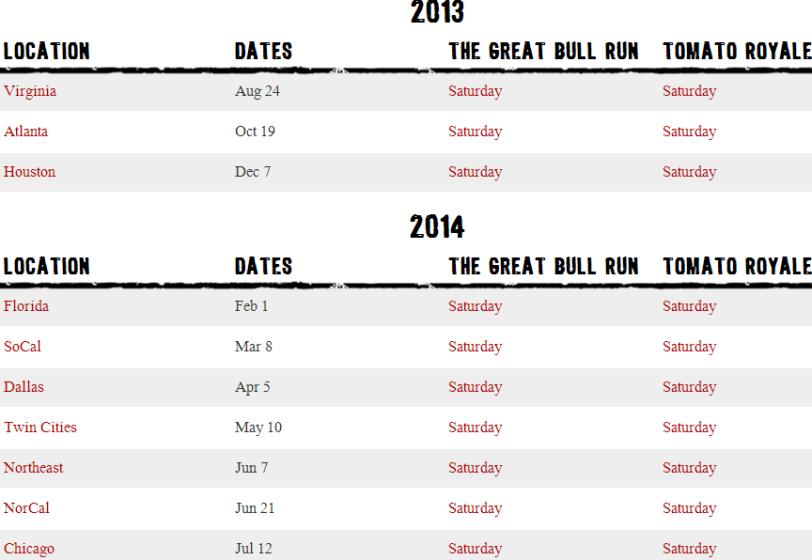 The Great Bull Run   Festival Locations   The Great Bull Run
